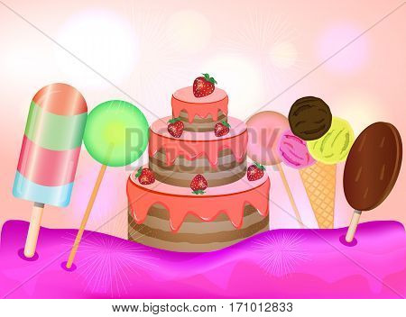Candy land background. Birthday cake lollipops and ice cream on pink background. Vector illustration.