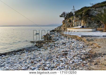 Sunset on beach of Thassos town, East Macedonia and Thrace, Greece