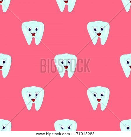 Vector seamless pattern with teeth on a pink background. Children's illustration on the theme of dentistry. The pattern of teeth