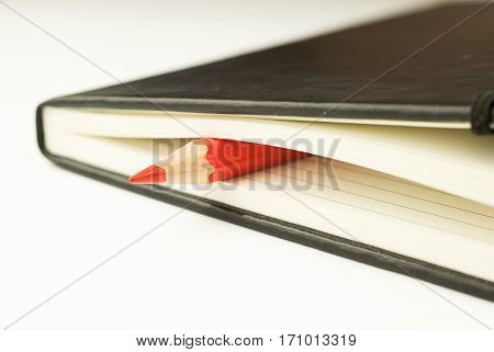 Colored pencil is inside the close notebooks