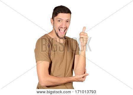 Young Latin Man Doing Ok Gesture.