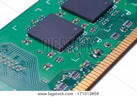 Electronic module RAM memory macro close up