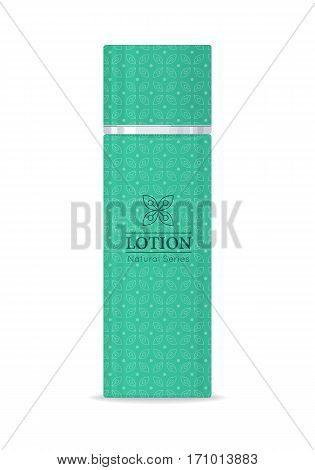 Lotion natural series. Green plastic tube for cosmetics on white background. Product for body care, beauty, health, freshness, youth, hygiene. Cream and lotion product. Realistic vector illustration.