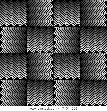 Monochrome Background With 3D Effect. Squares Composed Of Jagged Line.