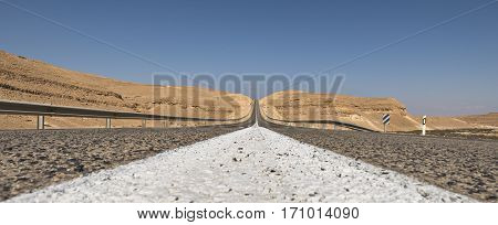 Road in desert of the Negev that is the biggest one in Israel