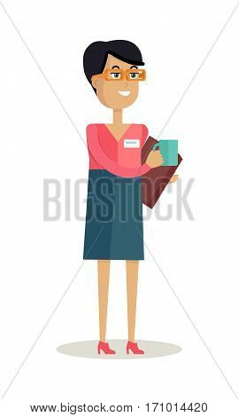Business woman with cup of hot hot drink. Concept of business people coffee break, business team coffee break, communicating at break. Isolated smiling young personage. Flat design vector illustration