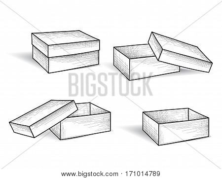 Box set. Package engraved doodle line collection. Box Retro Web Sketch Collection