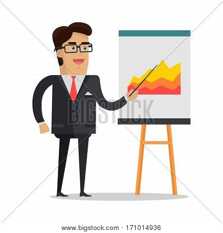 Presentation concept vector. Flat design. Smiling businessman shows pointer on the flip chart with graphs. Speaker at science, academic, trade, business conference. Analysis of financial indicators