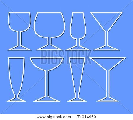 Set of wine glasses for different types of wine. Simple monoline glass silhouettes for menu or drink card decoration in restaurant bar