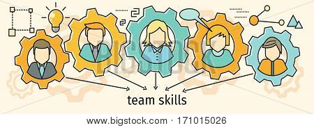 Team skills banner. Avatar in gear. Team building, workshop, training skill, develop ability, expertise, business people teamwork, personal development growth, team leader skills concept. Line art