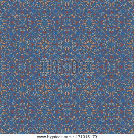Fine oriental patterns in vivid colors on blue background. Seamless oriental patterns. Filigree geometric patterns. Morocco ancient patterns. Vector small oriental vintage patterns.