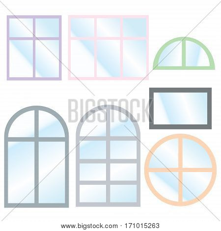 Vector collection of various windows types. For interior and exterior use. Flat style