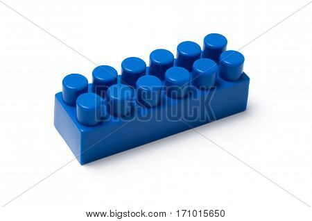 Building block - plastic construction toy isolated on white background
