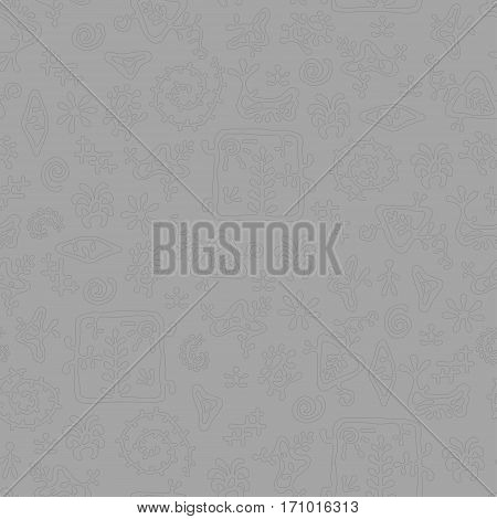 Smooth rock-painting style prehistoric floral seamless vector pattern. Light gray