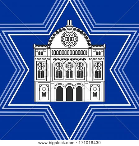 Synagogue drawing inside David star shape. Jewish religious symbolism. White synagoque silhouette on blue background.