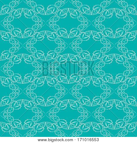 Vintage fine white brocade patterns on trendy green background seamless background with retro victorian patterns