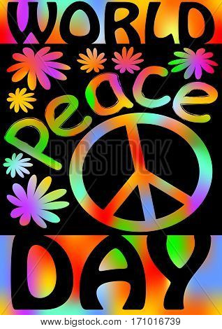 World Peace day with international symbol of peace disarmament anti-war movement. Grunge street art design in hippies rainbow colors. Vector image on radiating background. Retro motif of hippies movement
