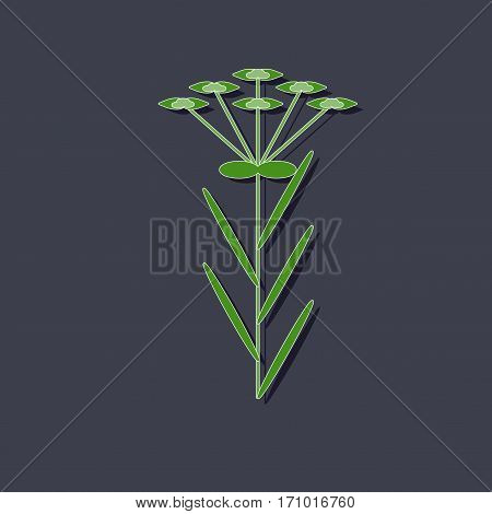 paper sticker on stylish background of plant Euphorbia