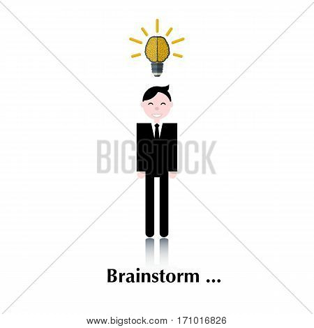 Business man.Vector men with brain icon, sign pictogram.The human brain as a lamp.Concept business, brainstorming, bulb idea , over white with text Brainstorm, in flat stile