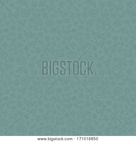 Smooth rock-painting style prehistoric floral seamless vector pattern. Light blue