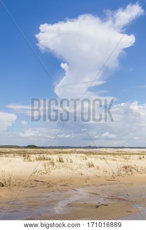 Dunes And Beautiful Cloud Formation In Tavare City