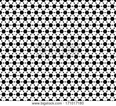 Vector monochrome seamless pattern, repeat ornamental background, geometric tiles. Abstract black & white endless backdrop. Illustration of football ball texture. Design for prints, decoration, textile, furniture, fabric, cloth