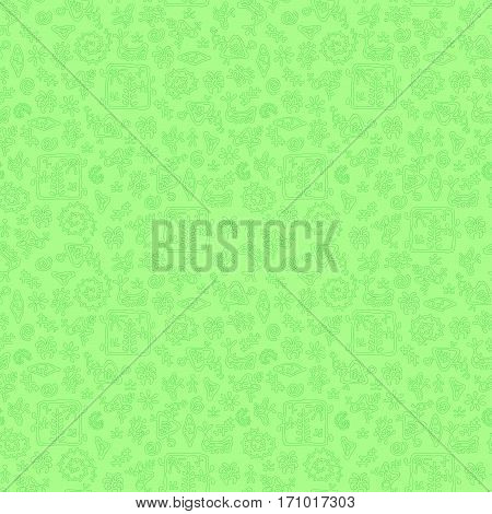 Smooth rock-painting style prehistoric floral seamless vector pattern. Light greem