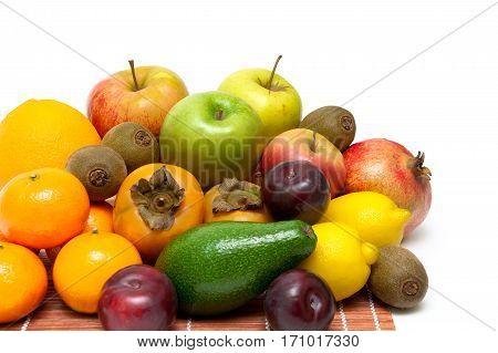 ripe fresh fruit on a white background. horizontal photo.