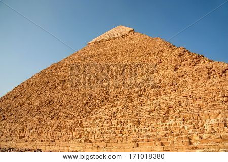 Close-up view of top of the pyramid of Khafre in Giza, Egypt