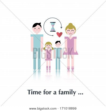Happy family.Vector people icon, pictogram Concept of time family, male, female, speech bubble, children, red, clock over white and text Time for a family in flat style
