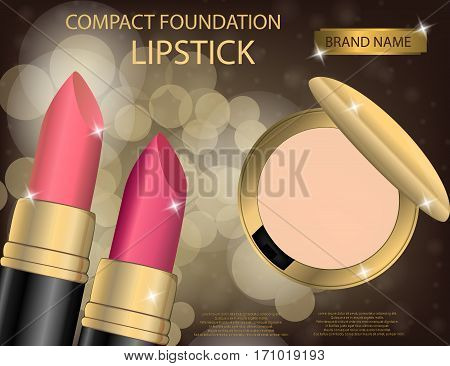 Glamorous compact foundation and lipstick on the sparkling effects background. Mockup 3D Realistic Vector illustration for design template