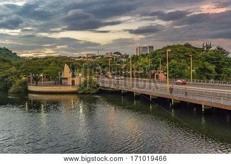 GUAYAQUIL, ECUADOR, FEBRUARY - 2016 - Sunset urban scene at estero salado river in Guayaquil city Ecuador