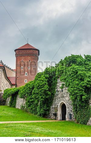 Inside scenic view of the territory of Wawel royal castle and cathedral in Krakow, Poland.