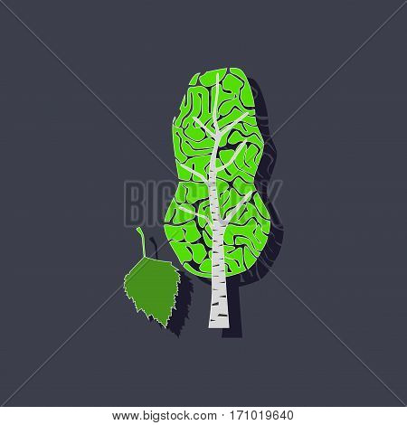 paper sticker on stylish background of plant Betula