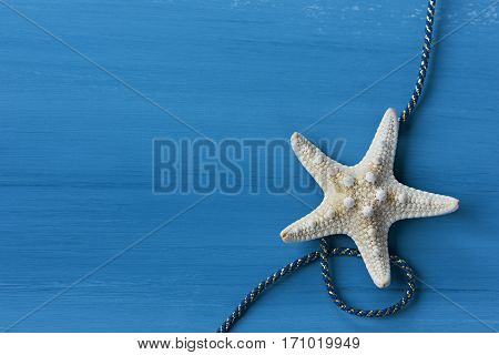 Starfish with cable against a blue colored wood background.