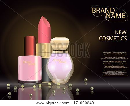 Glamorous nail lacquer perfume and lipstick on the sparkling effects background. Mockup 3D Realistic Vector illustration for design template