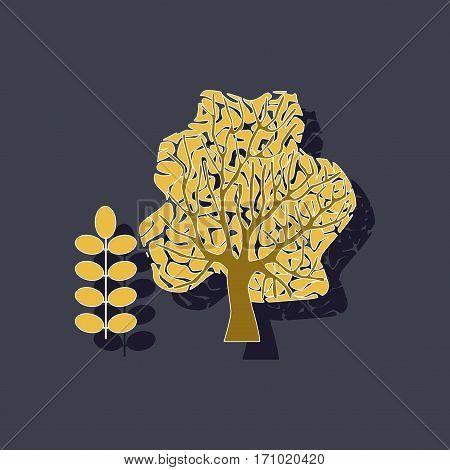 paper sticker on stylish background of plant Acacia