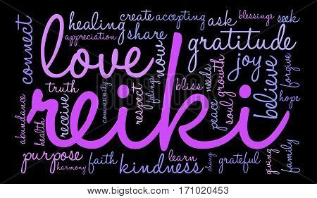 Reiki word cloud on a black background.