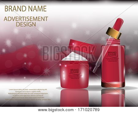 Collagen Premium Serum and Facial Cream Containers template with dropper on the sparkling effects background. Mockup 3D Realistic Vector illustration for design template