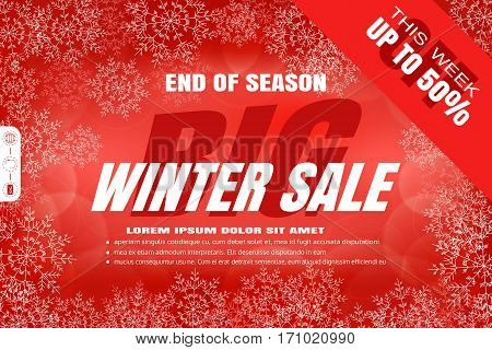 Vector poster for Big winter sale on the gradient red background with text in the center snowflakes radiance.