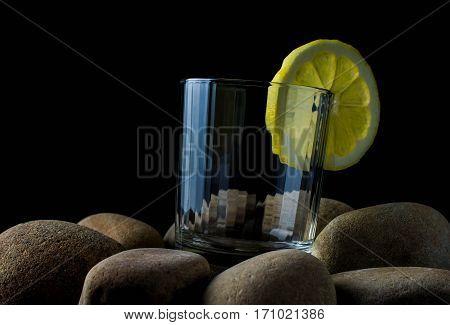 fresh clear water with fresh water splash stones