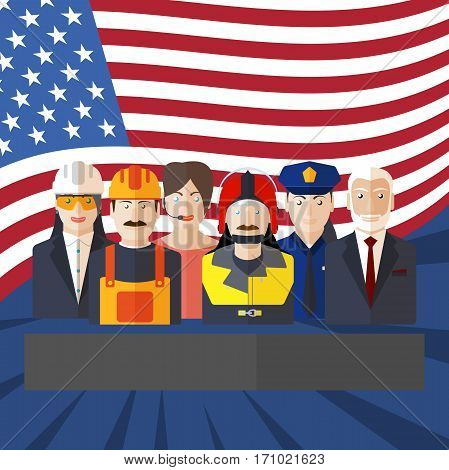 Blank of poster for Happy Labor Day with rays, a group of people of different professions and flag.