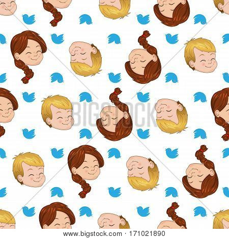 Vector Seamless pattern with smiling boy and girl. Children cute chirping on various topics
