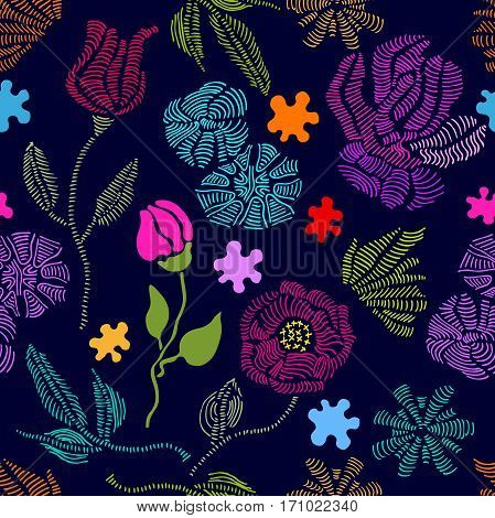 1950s and 1960s motifs. Retro textile design collection.