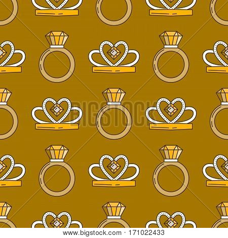 Set of vector jewelry line seamless pattern. Diamond luxury colorful collection. Ring and diadem silhouettes. Gold gem crystal sapphire element. Treasure collection