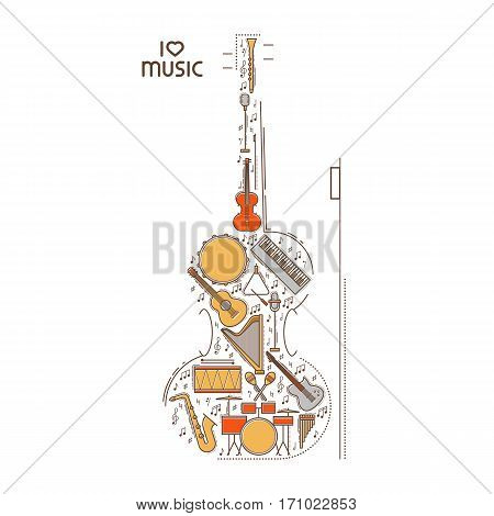 Flat line music icon set in violin shape. Vector concept. Modern illustration. Vintage background design. Retro creative sound cover. Musical instrument collection.