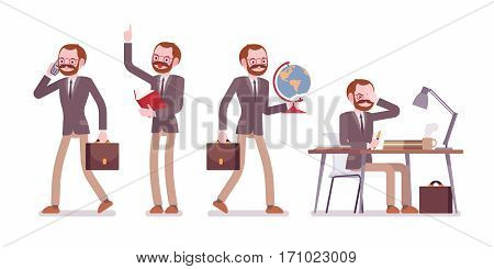 Set of male professional teacher in formal wear, walking and talking on phone, speaking up, sitting and working at the desk, checking paper and unhappy, full length, isolated against white background