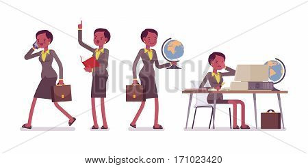 Set of female professional teacher in formal wear, walking and talking on phone, speaking up, sitting and working at the desk with computer, unhappy, full length, isolated against white background