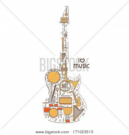 Flat line music icon set in guitar shape. Vector concept. Modern illustration. Vintage background design. Retro creative sound cover. Musical instrument collection.