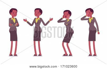 Set of female unhappy professional teacher showing negative emotions, ignorant pupils, lacking knowledge, bad salary, puzzled, crossed hands, in trouble, full length, isolated against white background